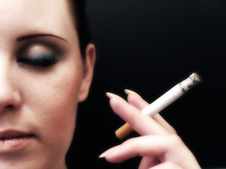 Half woman face with closed eye and cigarette