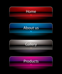 Website black vista style buttons set template