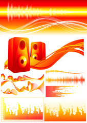 Red sound elements, vector illustration