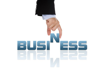 business concept with hand holding the business word