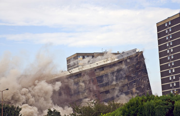 Demolition of 1960s building in Sighthill, Edinburgh.