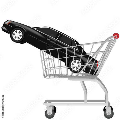 car buying_a black auto in shopping cart