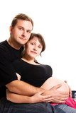 young man and his pregnant wife poster
