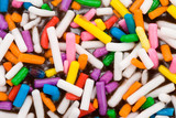 Sprinkles candy on top of Donut for background close up shot poster
