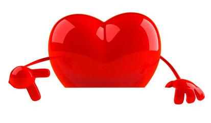 Coeur avec un panneau blanc