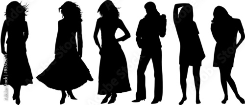 Silhouette of girls on a white background
