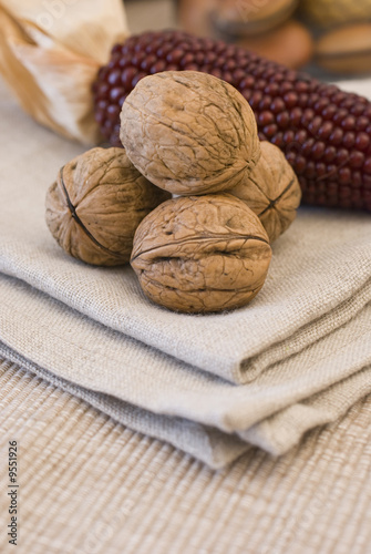 colors of autumn, composition with fruit and towels