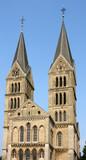 Church in Roermond, Limburg, Holland. Catholic landmark. poster