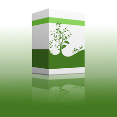 vector serie - white and green carton box with reflexion