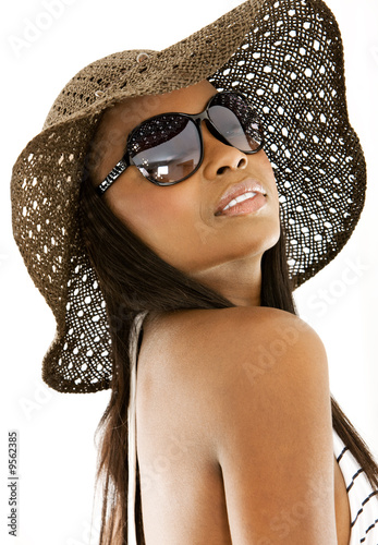beautiful bikini girl wearing a hat - isolated