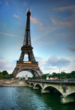Eiffel tower and Seine river. HDR image. poster