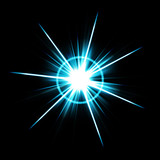 An abstract lens flare. A very star bright burst. poster