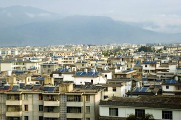 Lijiang city in Yunnan province, China. General cityscape.