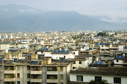 Lijiang city in Yunnan province, China. General cityscape.