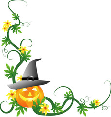 pumpkin with witches hat - halloween illustration