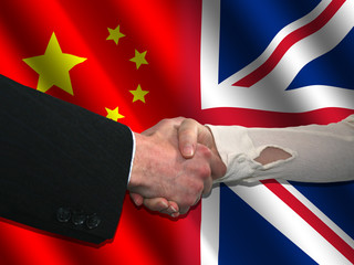 handshake over Chinese and British flags illustration