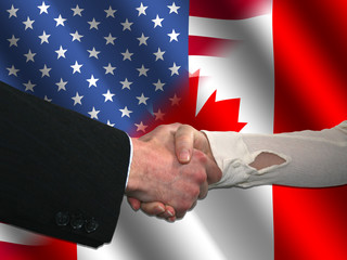 handshake over American and Canadian flags illustration