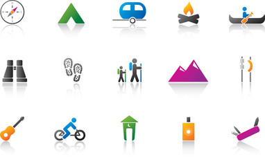 Camping / Outdoor Icon Set - Full Color Version