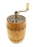 Grinding mill hand grinder wooden on white poster