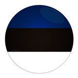 Abstract illustration: button with flag from Estonia country poster