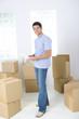 Man between boxes