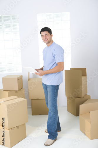 Man between boxes