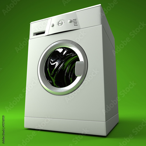 fine image 3d of classic washing machine with green background