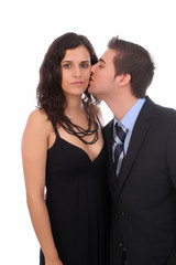 Bussiness couple - man kissing wife, isolated over white