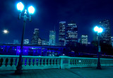 City Skyline at night with bridge in foreground poster