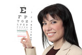 An optometrist points to an eye chart. poster