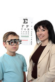 An eye doctor stands with a patient wearing trial frames poster