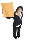 businesswoman holding up a letter that just arrived. poster