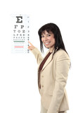 Beautiful female optometrist at work pointing to  eye chart. poster