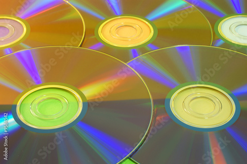 a simple background with five colorful disks