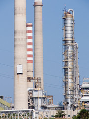 Towers of a refinery of chemistry-chemical industry