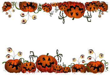 cornice per halloween con zucche mostruose