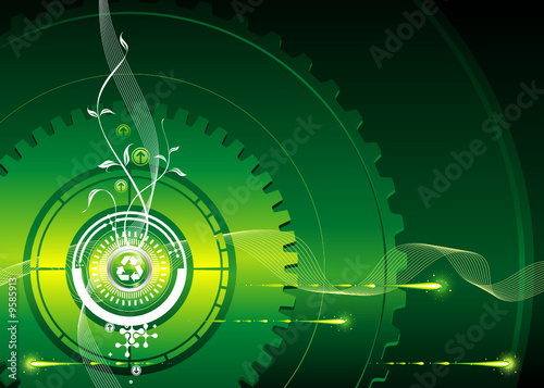 Green industrial concept, vector illustration layered.