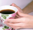Female hands hold a coffee cup