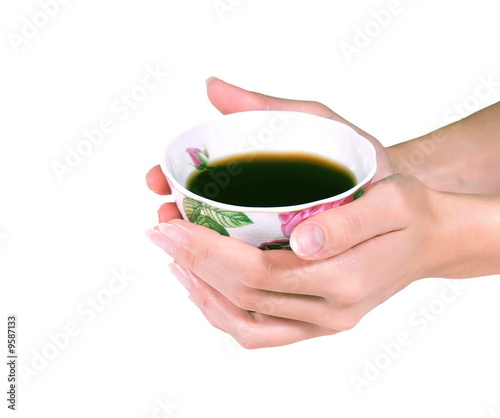 Female hands hold a coffee or tea cup