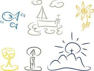 Sechsteiliges Set: Handgezeichnete Symbole, Christentum