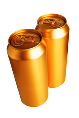 Two gold beer cans isolated over white background