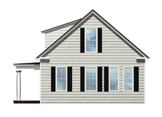 Side view of house isolated on white.