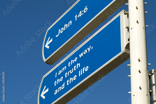 A roadsign giving directions to follow Jesus.