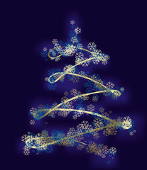 stylized xmas tree with gold stars