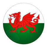 Abstract illustration: button with flag from Wales country poster
