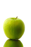 green apple separately on  white background poster