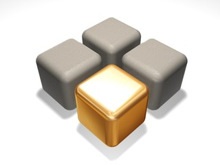 Gold cube about grey cubes on a white background