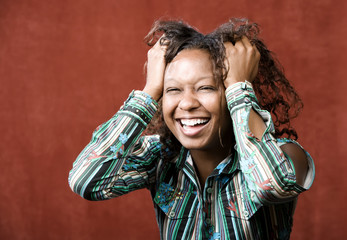 Close-Up Portrait of an Laughing African-American Woman