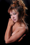 Cute topless Asian Girl poster