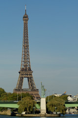 Eiffel tower and Statue of Liberty of Paris, France